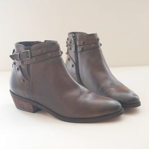 Halogen Leather Studded Brown Ankle Boots